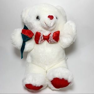 White & Red Teddy Bear with Bowtie and Rose